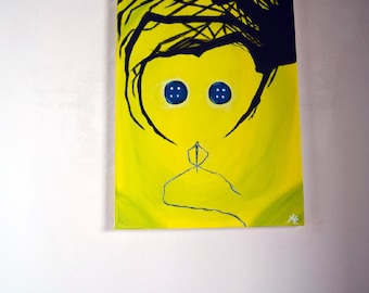 Canvas with acrylic Coraline and the Magic Door Original Painting Acrylic original Picture