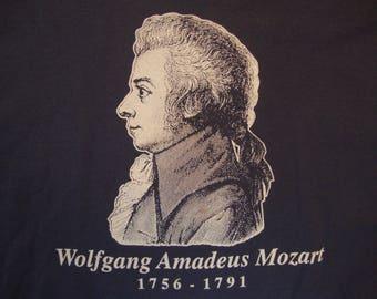 Vintage 80's Wolfgang Amadeus Mozart Music Composer Lifespan Fan Blue T Shirt Size XL