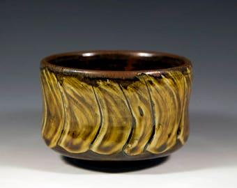 Olive Amber Pottery Tea Bowl | Chawan