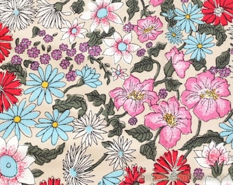 Japanese Traditional Holiday Sakura Cherry Blossom Daisy Sunflower Floral Garden - Japanese Linen Cotton Blended Fabric (Fat Quarter)