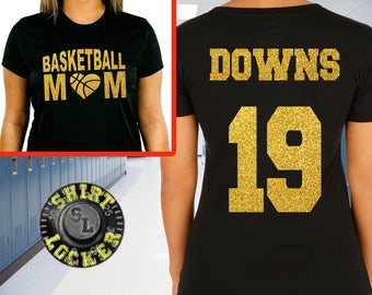 Basketball Mom Glitter Design Womens Soft Style Cotton Tee Shirt Spirit Wear Glitter Bling Design Mother Hoops Any color combination