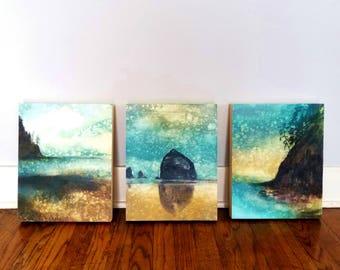SET of THREE Oregon Coast Rain Paintings, limited edition art prints on panels, Haystack Rock, Oregon Coast
