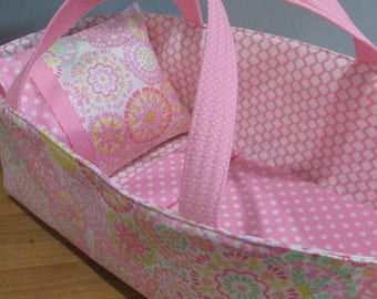 Doll Carrier, Will Fit Bitty Baby and Wellie Wisher Dolls, Soft Pink Circles with Flowers, Pink Lining, 16 Inches Long, Doll Basket