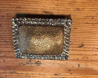 Buckle it up for gold and rhinestone vintage  belt buckle 2 and a half by 2 inches