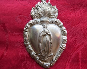 Antiqued Pewter Ex Voto Sacred Heart VIRGIN MARY Pendant- Perfect for your own projects