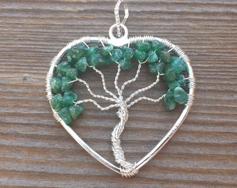 Heart Style JADE Tree Of Life Wire Wrapped Pendant Stone Natural Gemstone