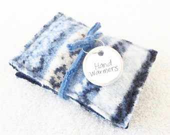 Pocket Hand Warmers BLUE & BEIGE Fair Isle Sweater Wool Reusable Handwarmers Rice Bag Ecofriendly Coworker Teacher Gift by WormeWoole
