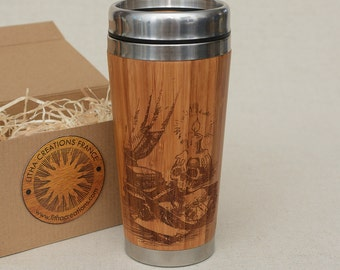 Personalized Gift Wooden Travel Mug Design OCCULT Customized Engraved Bamboo Car Desk Coffee Tea Cup with Lid