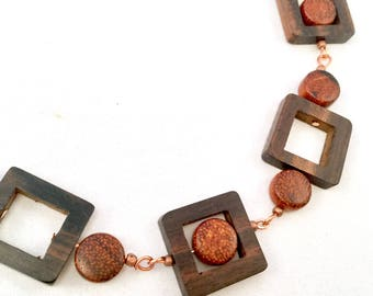 Copper and Wood Necklace