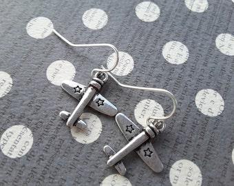 Silver Airplane Dangles . Earrings