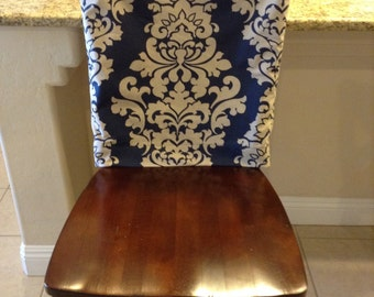 Chair Back Cover Indigo Fitted Kitchen Or Dining Room Slipcover Linen Blend Damask Print