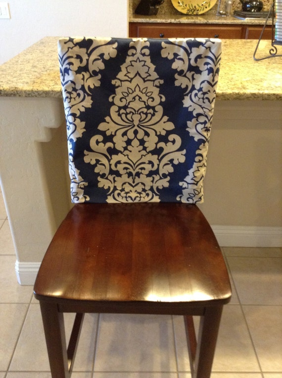 Chair Back Cover Indigo Fitted Kitchen Or Dining Room Chair