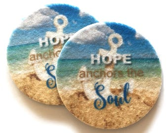 Hope anchors the Soul - Set of two super absorbent car coasters for your cars cup holder - Free Shipping - Beach Cup Holder Coasters