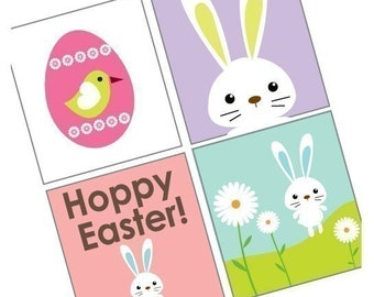 Exciting Cute Easter Images - Scrabble Size Printable Images - Buy 2 Get 1 Free -Instant Download - .75x.83 Inch -Digital File -Eggs Bunnies