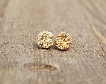 Druzy Earrings.  Gold druzy earrings.  Bridesmaids gift idea.