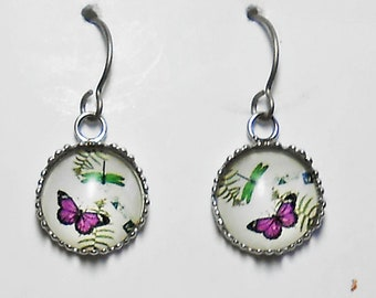Butterfly and Dragonfly Earrings Titanium Hypoallergenic