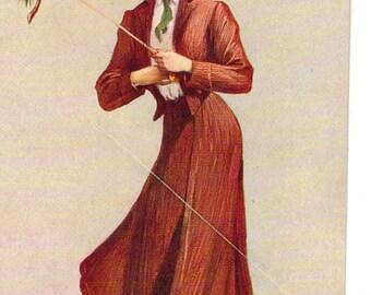 Vintage Postcard, Artist signed St John, State Girl of Maine, 1907