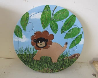 Lion in Jungle Child's Wooden Puzzle