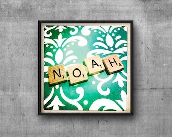 NOAH - Name Art - Scrabble Tile Name - Art Photo - Photography Art Print - Name Sign