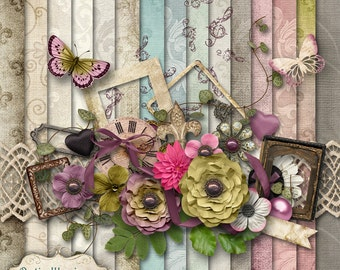 HEART & SOUL - Digital Scrapbooking Kit - 15 Papers and over 50 Elements -4.75