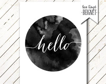Hello printable - Watercolor Minimalist Printable - Circle - Watercolor - Instant Download - You Choose Color and Sizing