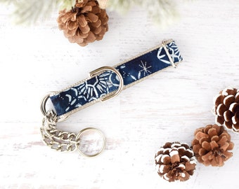Blue Watercolor Winter Snowflakes - Metallic Snowflakes - Dog Collar - Unisex Dog Collar - Festive - Winter - Snow Flakes - Metal Buckle