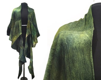 Green Wool Cape, Merino Wool Wrap, Gifts for Her, Green Scarf, Wool Poncho, Felted Scarf, Ana Livni