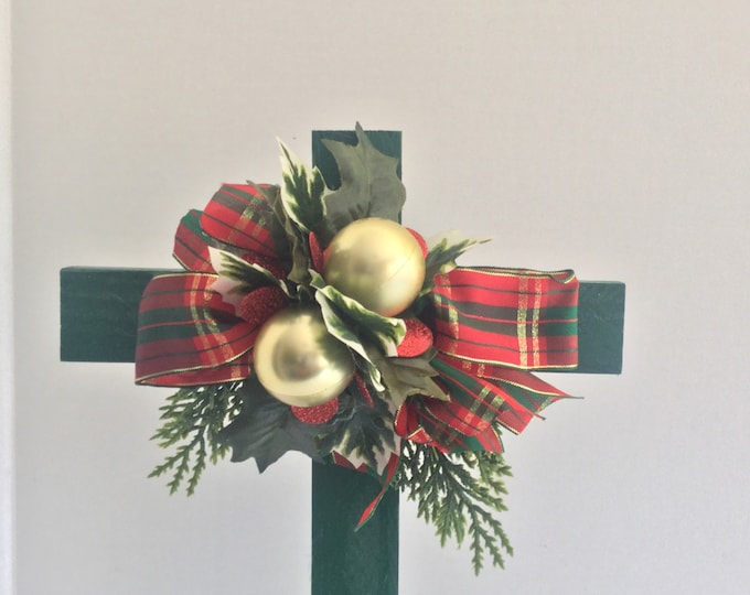 Christmas Cemetery cross, holiday grave decoration, memorial cross, Christmas Floral Memorial, grave marker, in memory of, memorial flowers