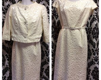 1950's Ivory Rose Dress Set