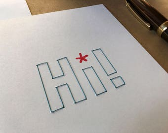 Hi! - hand stitched blank greeting card. Free shipping within the US.