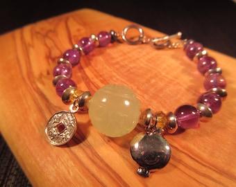 Boho Silver Amethyst Jade Toggle Close Bracelet