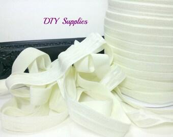5/8 Ivory fold over elastic, solid FOE, Wholesale elastic, headband elastic, diy hair ties, elastic by the yard, foldover elastic
