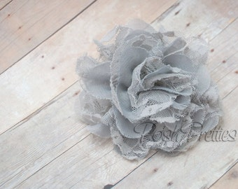 Grey Flower Hair Clip  - Shabby Chiffon and Lace Flower - With or Without Rhinestone Center