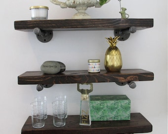 Industrial Pipe Shelving with Reclaimed Wood, Pipe Shelves, Wood Floating Shelves, Rustic pipe shelves, MADE TO ORDER