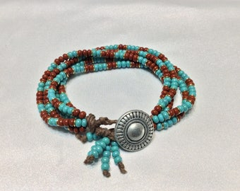 Western Inspired Bracelet in Turquoise and Terracotta Button Closure