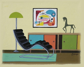 Mid Century Modern Eames Retro Limited Edition Print from Original Painting Interior Chair