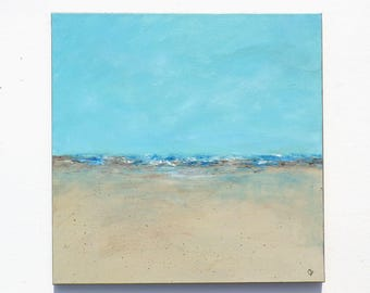 Abstract beach painting Large 20x20 square ocean painting, modern art beach paintings in aqua turquoise