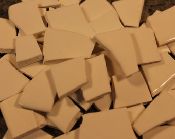 100 White Mosaic Tile Pieces, Mosaic Supplies, Thin Ceramic Mosaic Tiles, Item # ST-5126