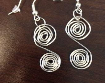 Double spiral silver earrings, handmade earrings