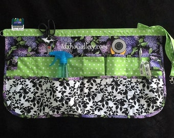 Pinny Gift for Her Cotton Craft Apron Work Apron Half Apron Black and White Green Polka Dot Lilacs Multi-pockets Idaho Gallery