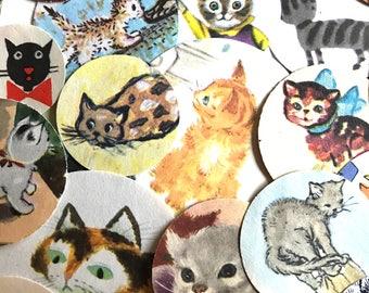 Cat  Circles Ephemera Pack Kitten Paper Punch Childrens Birthday Party Cat Lovers Vintage Confetti