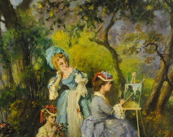 """Original Oil on Canvas by Frederich Reichenthal Victorian Girls 24"""" x 30"""", PA3193, Shipping Not Free!!!"""