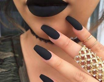Black Goth Witch Matte Nails l Press in nails |Press on nails | Press on nail | Fake nails,False nails |Glue on nails|Stiletto fake