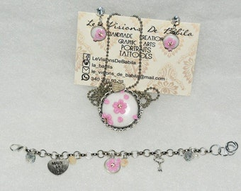 Set necklace bracelet, polymer clay earrings, sakura, cherry blossoms