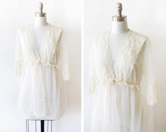 60s chiffon negligee, vintage 1960s ivory lace robe, nylon sheer peignoir bed jacket lingerie, small to medium