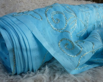 1.5 Yards Blue Embroidered Cotton Fabric by the Yard, Fabric by the Yard, Yardage