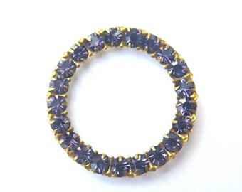 Antique vintage Swarovski crystals mounted in circle ring brass setting cut 1100, purple