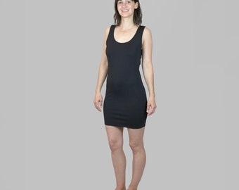 Black Bodycon Dress Vintage/ 90s Bodycon Dress