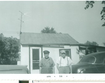 1958 The Old Farmers Father Son Suspenders Hats House 50s Vintage Photograph Black White Photo