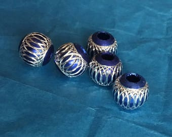 Large Silver and Blue Aluminum Hole Spacers / Beads- Pandora style